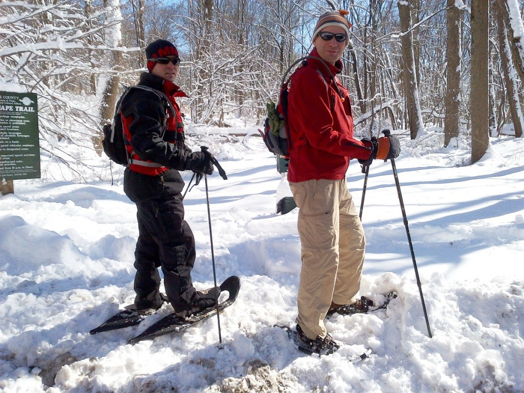 Snowshoe walking with hydration by Source
