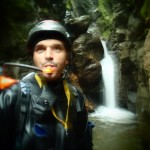 Laurent Poublan in the canyon - quick breather and a sip of water