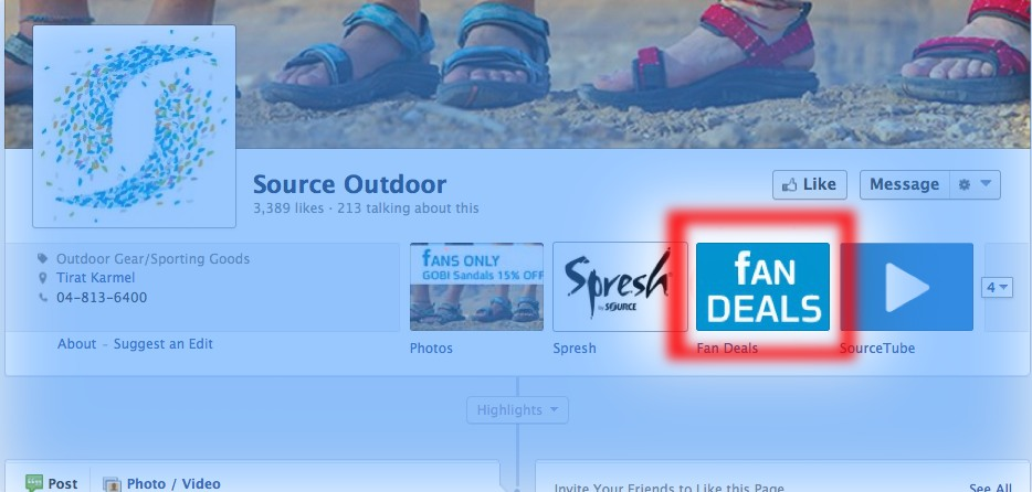 "Like SOURCE on Facebook - then click ""Fan Deals"" to find special offers!"