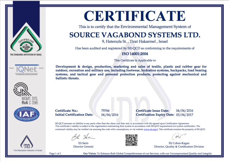 Quality, Environment, Social Responsibility - SOURCE is ISO 14001 Certified